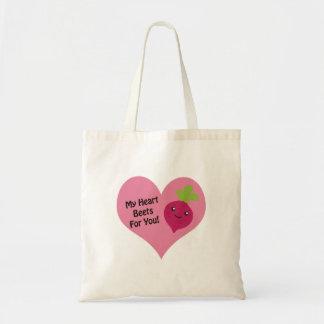 Mis remolachas del corazón para usted bolsa tela barata