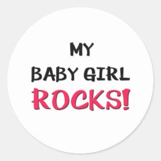 Mis rocas de la niña pegatina redonda