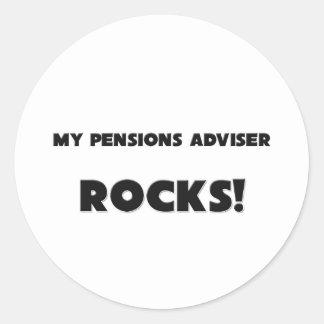 ¡MIS ROCAS del consejero de las pensiones! Pegatina Redonda