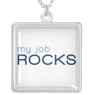 Mis rocas del trabajo collar plateado