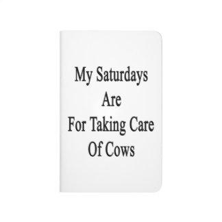 Mis sábados están para tomar el cuidado de vacas cuaderno grapado