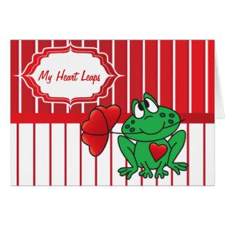 Mis saltos de la rana del corazón tarjeta de felicitación