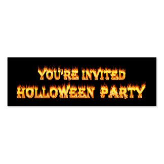 Mis Spelled Holloween Party Invitations in fire Mini Business Card