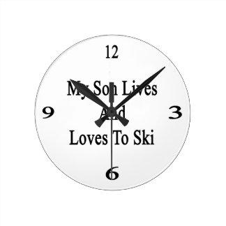 Mis vidas y amores del hijo al esquí reloj redondo mediano