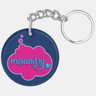 Misandry (pink on blue) Double-Sided Keychain