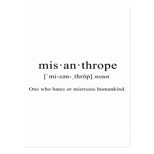 Misanthrope [Definition] Postcard