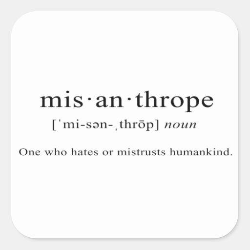 Misanthrope Definition Square Sticker Zazzle