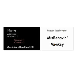 Misbehavin' Monkey Double-Sided Mini Business Cards (Pack Of 20)