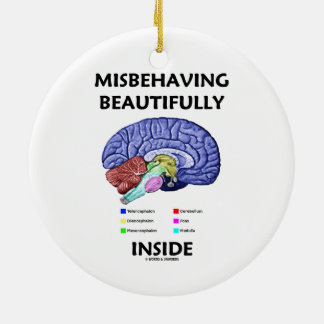 Misbehaving Beautifully Inside (Anatomical Brain) Ceramic Ornament