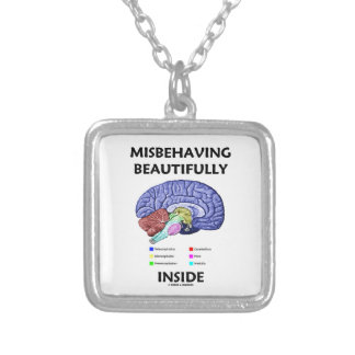 Misbehaving Beautifully Inside (Anatomical Brain) Silver Plated Necklace
