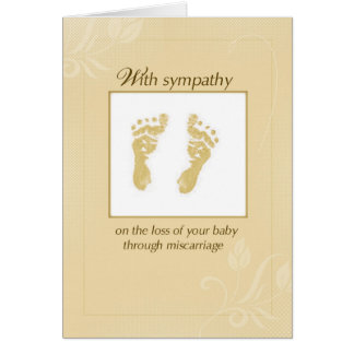 Miscarriage Sympathy and Support, Yellow Footprint Card