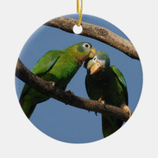 Miscellaneous - Amazon Parrot & KIS Pattern Double-Sided Ceramic Round Christmas Ornament