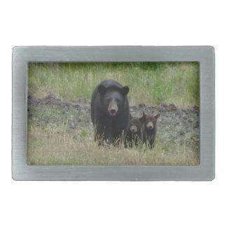 Miscellaneous - American Black Bear & Cubs Pattern Rectangular Belt Buckles