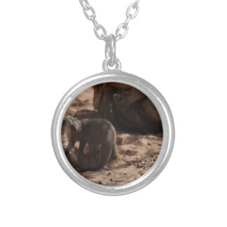 Miscellaneous - Banded Mongoose Pattern Round Pendant Necklace