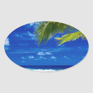 Miscellaneous - Beach & Palm Trees Nineteen Oval Sticker