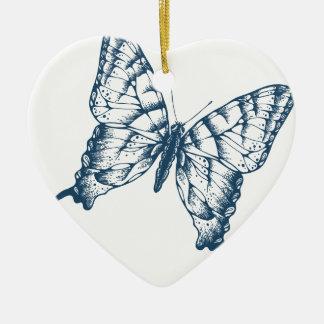 Miscellaneous - Blue Vintage: Butterfly Ceramic Ornament