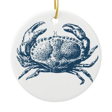 Professional Business Miscellaneous - Blue Vintage: Crab Ceramic Ornament
