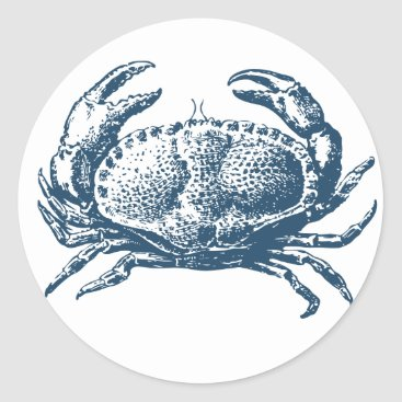 Professional Business Miscellaneous - Blue Vintage: Crab Classic Round Sticker