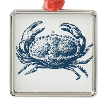 Professional Business Miscellaneous - Blue Vintage: Crab Metal Ornament
