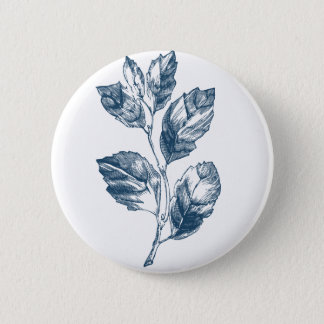 Miscellaneous - Blue Vintage: Leaves Pinback Button