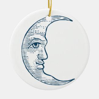 Miscellaneous - Blue Vintage: Left Moon Face Ceramic Ornament