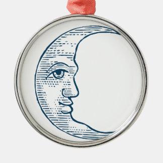 Miscellaneous - Blue Vintage: Left Moon Face Metal Ornament