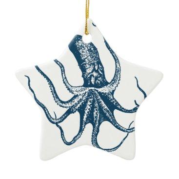 Professional Business Miscellaneous - Blue Vintage: Octopus Three Ceramic Ornament