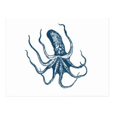 Professional Business Miscellaneous - Blue Vintage: Octopus Three Postcard