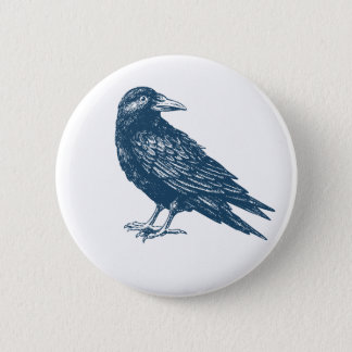 Miscellaneous - Blue Vintage: Raven Pinback Button