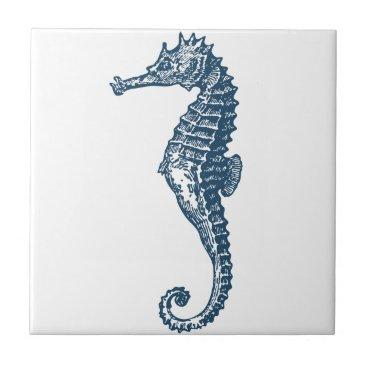 Professional Business Miscellaneous - Blue Vintage: Seahorse Two Ceramic Tile