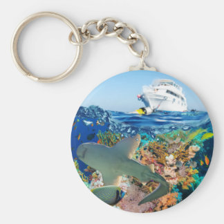 Miscellaneous - Boat & Coral Reef Pattern Eighteen Keychain