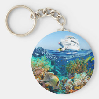 Miscellaneous - Boat & Coral Reef Pattern Fourteen Keychain