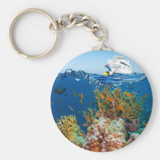 Miscellaneous - Boat & Coral Reef Patterns Eight Keychain