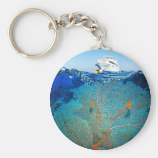 Miscellaneous - Boat & Coral Reef Patterns Nine Keychain