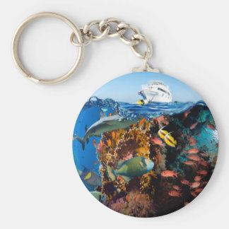 Miscellaneous - Boat & Coral Reef Patterns One Keychain