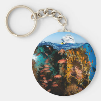 Miscellaneous - Boat & Coral Reef Patterns Three Keychain