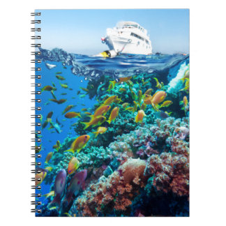 Miscellaneous - Boat & Coral Reef Twenty-One Spiral Notebook