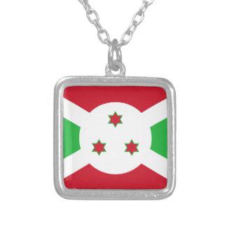 Miscellaneous - Burundi Pattern Flag Square Pendant Necklace