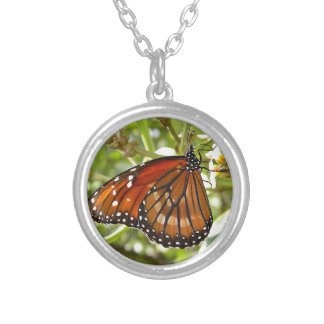 Miscellaneous - Butterfly Orange & Green Light Round Pendant Necklace
