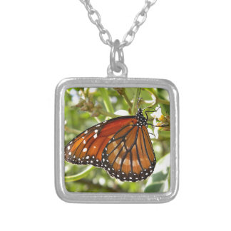 Miscellaneous - Butterfly Orange & Green Light Square Pendant Necklace