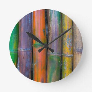 Miscellaneous - Chromatic Bamboos Pattern Round Clock