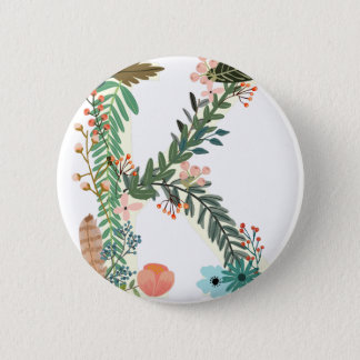 Miscellaneous - Floral Alphabet: Letter K Pinback Button
