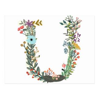 Miscellaneous - Floral Alphabet: Letter U Postcard