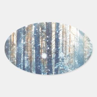 Miscellaneous - Frosty Landscape Patterns Nineteen Oval Sticker