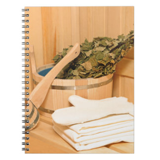 Miscellaneous - Sauna Objects Patterns Twenty-One Spiral Notebook