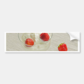Miscellaneous - Strawberry With Cream Thirteen Car Bumper Sticker