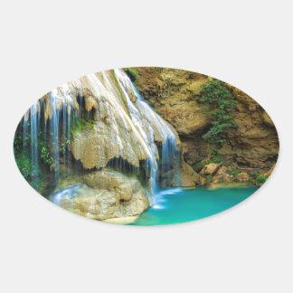 Miscellaneous - Zen Waterfall Patterns Nineteen Oval Sticker
