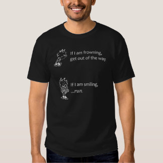 Mischevious smiling versus frowning moods t shirt