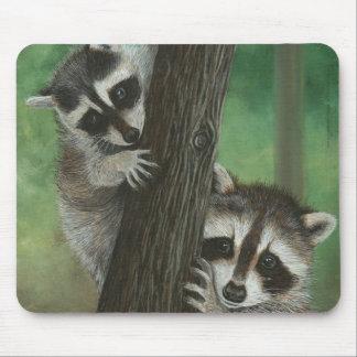 Mischief Raccoon up a Tree mousepad