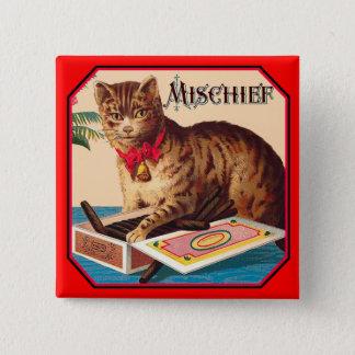 Mischief the Cat Pinback Button